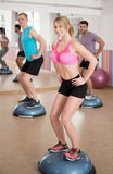 Balance training on the bosu. Fit people during balance training on the bosu Stock Photography