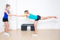 Balance training exercise Stock Images