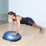Balance training on platform Stock Image