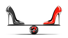 Balance between two shoes. Royalty Free Stock Images