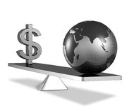 Balance of wealth and earth resources concept. A dollar sign with globe on scale equal balance 3d illustration Stock Image