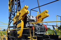 Balance weight and reducer the pumping unit of an oil well. Stock Photography