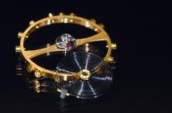 Balance Wheel, Hairspring and Ruby Impulse Roller Jewel. Watch Parts: Balance Wheel, Hairspring and Ruby Impulse Roller Jewel royalty free stock images