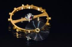 Balance Wheel, Hairspring and Ruby Impulse Roller Jewel. Watch Parts: Balance Wheel, Hairspring and Ruby Impulse Roller Jewel stock photos