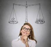 Balance. Woman, student  thinking Stock Photos