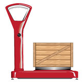Balance with wooden crate. Red Balance with wooden crate Stock Photos