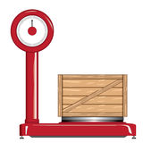 Balance and wooden crate. Red Balance with wooden crate Royalty Free Stock Photography