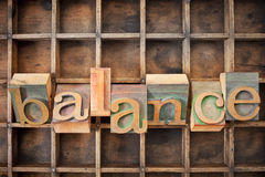 Balance word in wood type. Balance word in twisted vintage letterpress wood type against a grunge typesetter box royalty free stock photo