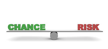 Balance. The words chnce and risk  on a seesaw Stock Photos