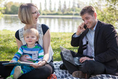 Balance between work and family life Stock Images