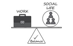 Balance Between Work and Social Life Diagram Royalty Free Stock Photos