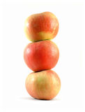 Balance your diet. Three apples stacked like a tower stock photo