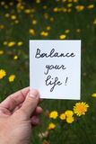 Balance your life. Between career, family, friends and personal hobbies Stock Image