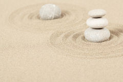 Balance zen stones in sand Stock Photo