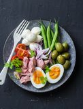 Balanced breakfast or snack - plate of canned tuna, green beans, mozzarella cheese, tomatoes, boiled egg, olives on a dark backgro Royalty Free Stock Photography