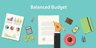 Balanced budget illustration with businessman working on paper document Stock Image