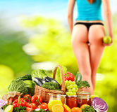 Balanced diet based on raw organic vegetables Royalty Free Stock Photography