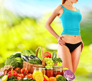 Balanced diet based on raw organic vegetables Stock Images