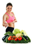 Balanced diet based on raw organic vegetables and fruits Stock Images