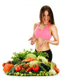 Balanced diet based on raw organic vegetables and fruits Royalty Free Stock Image