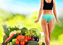 Balanced diet based on raw organic vegetables and fruits Stock Photography