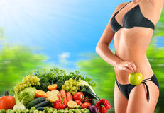 Balanced diet based on raw organic vegetables and fruits Stock Photo