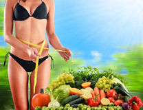 Balanced diet based on raw organic vegetables and fruits Royalty Free Stock Photography