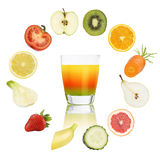 Balanced diet concept. cocktail glass with fruits and vegetable Stock Image