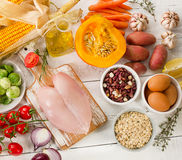 Balanced diet. Cooking and food concept. Healthy dieting Stock Photos