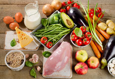 Balanced diet, cooking and organic food concept on rustic wooden Stock Photo