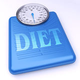 Balanced Diet. 3D rendering of a weight scale with the word diet Royalty Free Stock Images