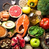 Balanced diet food background. Royalty Free Stock Image