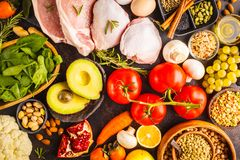 Balanced diet food background. Healthy ingredients on a dark background, top view. Balanced diet food background. Healthy ingredients: fruits, vegetables, meat royalty free stock image