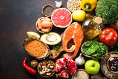 Balanced diet food background. Stock Photography