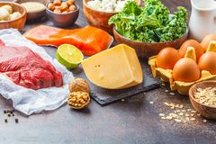 Balanced diet food background. Protein foods: fish, meat, cheese
