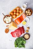 Balanced diet food background. Protein foods: fish, meat, eggs. Cheese, quinoa, nuts on white background, top view, copy space royalty free stock photo