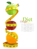 Balanced diet with fruits Royalty Free Stock Photography
