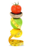 Balanced diet. With fruits and vegetables Stock Images