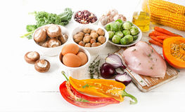 Balanced diet. Healthy food concept. Stock Photo