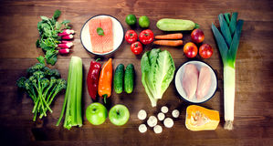 Balanced diet. Healthy food concept. Vegetables, fruits, fish an Royalty Free Stock Image