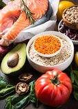 Balanced diet. Organic food for healthy nutrition. Royalty Free Stock Images