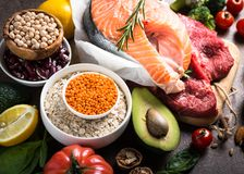 Balanced diet. Organic food for healthy nutrition. Stock Image