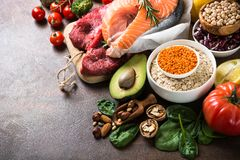 Balanced diet. Organic food for healthy nutrition. Royalty Free Stock Photography