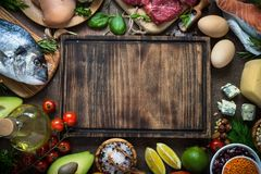 Balanced diet. Organic food for healthy nutrition. Balanced diet food background. Organic food for healthy nutrition. Ingredients for cooking. Top view copy stock photo