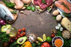 Balanced diet. Organic food for healthy nutrition. Balanced diet food background. Organic food for healthy nutrition. Ingredients for cooking. Top view copy stock photos