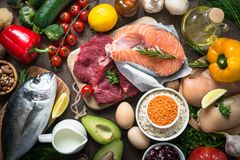 Balanced diet. Organic food for healthy nutrition. Stock Images