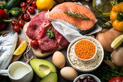 Balanced diet. Organic food for healthy nutrition. Royalty Free Stock Image