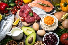 Balanced diet. Organic food for healthy nutrition. Stock Photography
