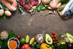 Balanced diet. Organic food for healthy nutrition. Balanced diet food background. Organic food for healthy nutrition. Meat fish beans and vegetables. Top view royalty free stock image