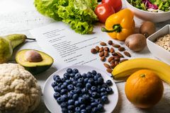 Balanced diet plan with fresh healthy food. On the table royalty free stock photos